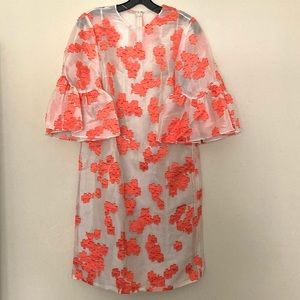 NWT Lela Rose Floral Flutter-Sleeve Tunic Dress